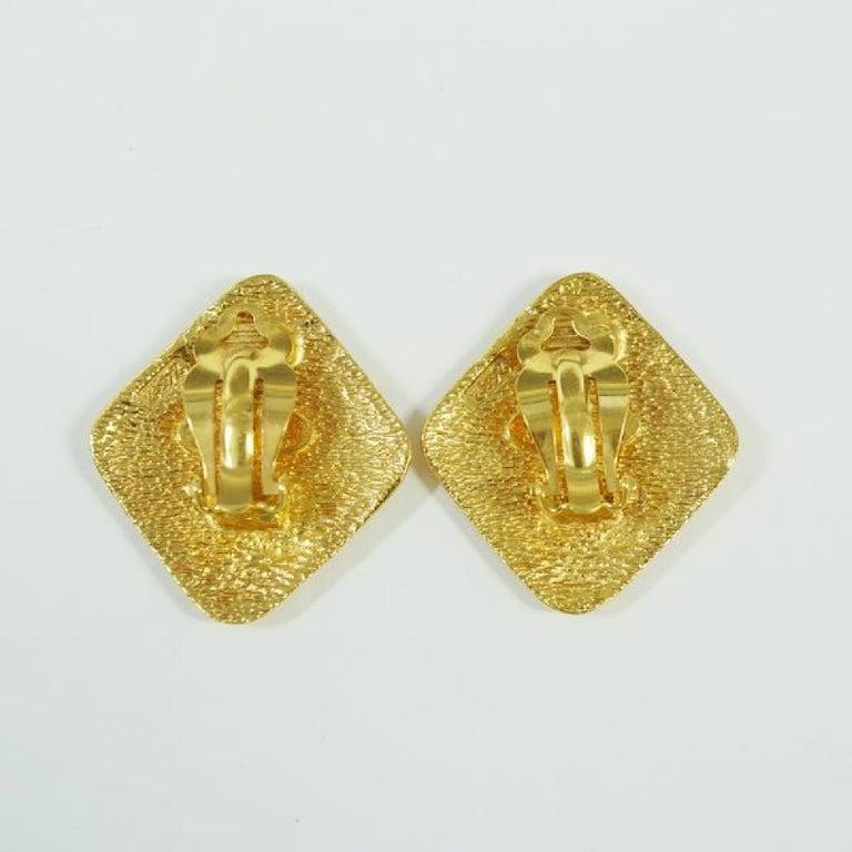 Women's CHANEL rhombus coco mark GP Womens earrings gold For Sale