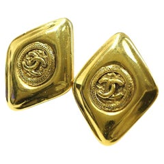 CHANEL rhombus coco mark GP Womens earrings gold