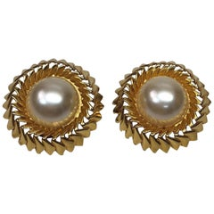 Chanel Rippled Gold Tone w/ Large Pearl Center Earrings