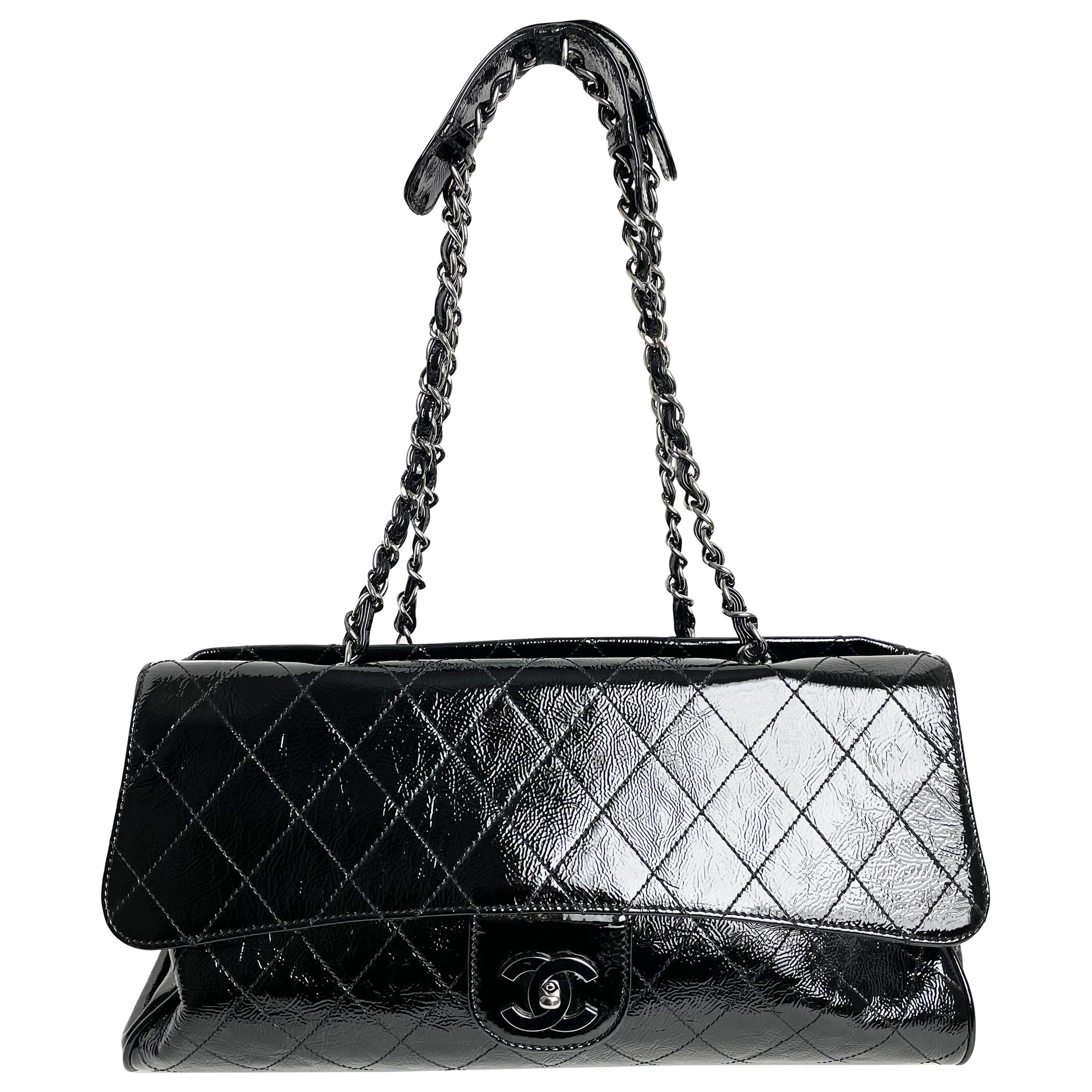 Chanel Ritz Shoulder Bag Convertible Clutch Black Matelasse Patent Leather