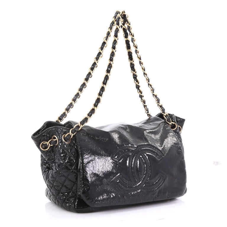 563fe9c04c6c Black Chanel Rock and Chain Accordion Flap Bag Patent Vinyl Small For Sale