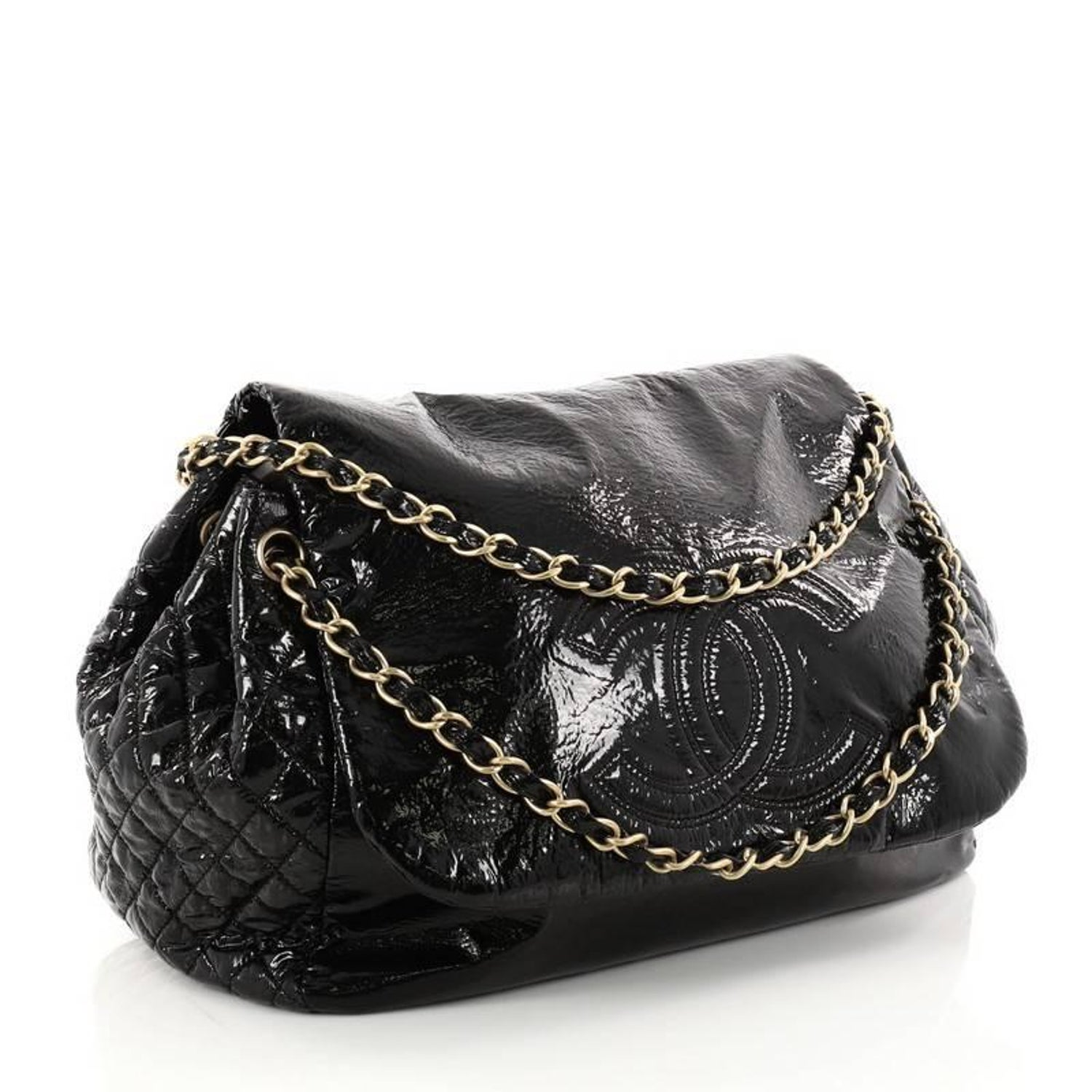 f5b403786285 Chanel Rock and Chain Flap Bag Patent Vinyl Large at 1stdibs