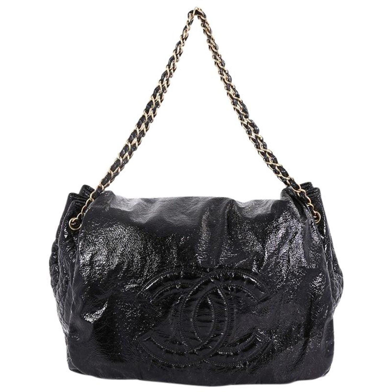 5cdb3de077f6 Chanel Rock and Chain Flap Bag Patent XL For Sale at 1stdibs