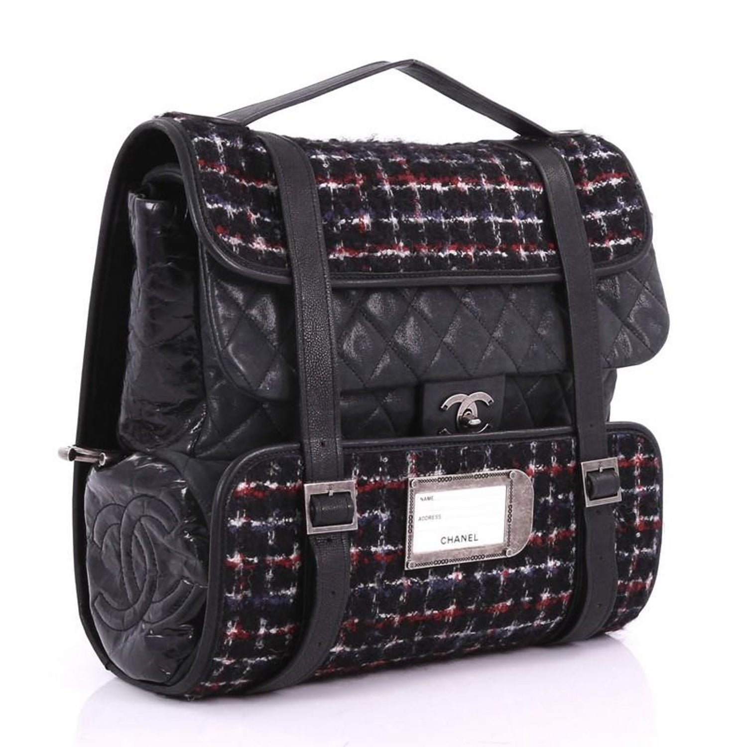 3e1710080a92 Chanel Roll Backpack Tweed with Quilted Calfskin Medium For Sale at 1stdibs