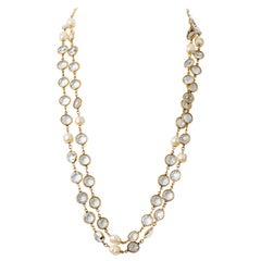 Chanel Rose Cut Crystal and Pearl Vintage Necklace