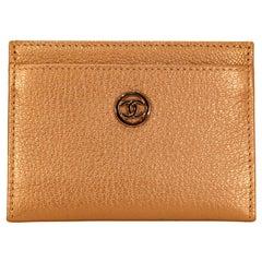 Chanel Rose Gold Leather Card Holder