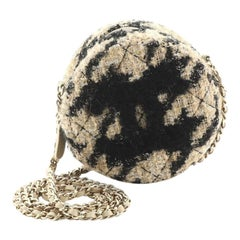 Chanel Round Clutch with Chain and Coin Purse Quilted Tweed with Shearlin
