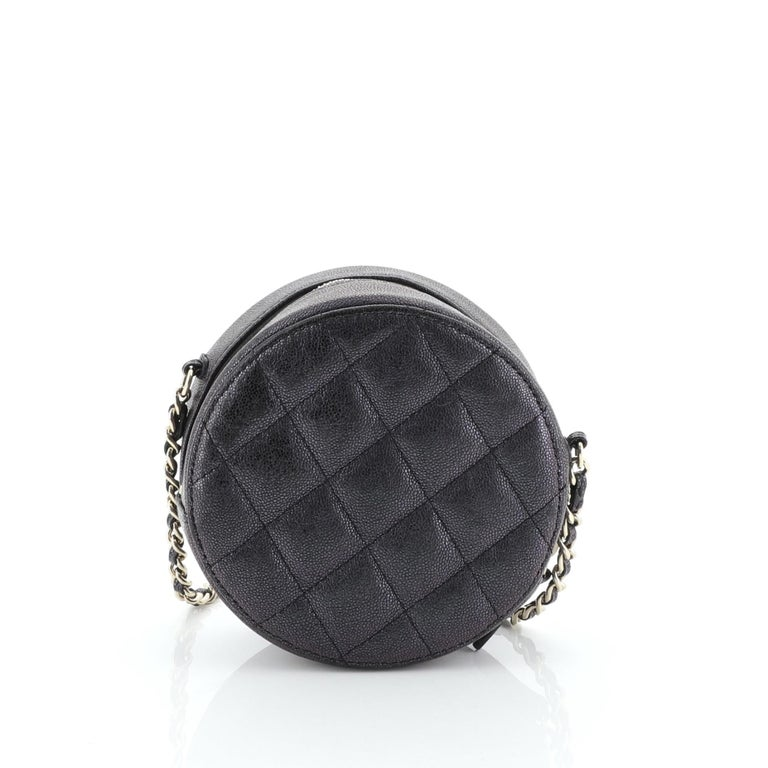 Chanel Round Clutch with Chain Quilted Caviar Mini In Good Condition For Sale In New York, NY
