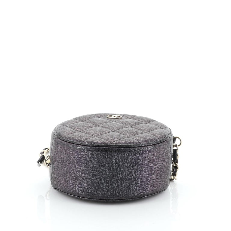 Women's or Men's Chanel Round Clutch with Chain Quilted Caviar Mini For Sale