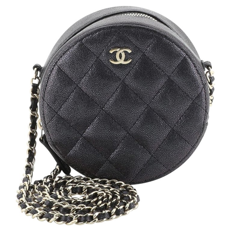 Chanel Round Clutch with Chain Quilted Caviar Mini For Sale