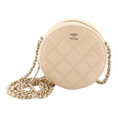 Chanel Round Clutch with Chain Quilted Caviar Mini