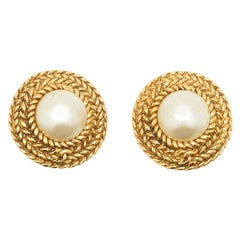 Chanel Round Faux Pearl Clip-On Earrings