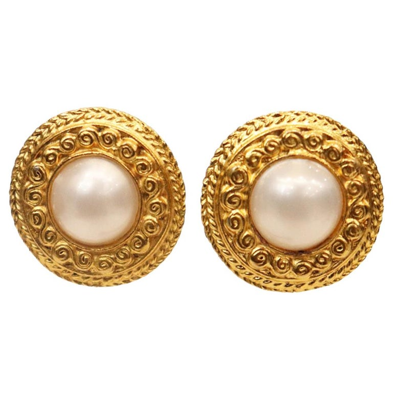 Chanel Round Faux Pearl Gold-tone Plated Metal Clip on Earrings Circa 1980s For Sale