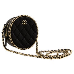 CHANEL Round Mini Small Chain Shoulder Crossbody Bag Black Quilted