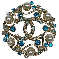 Chanel Round Pearl, & Rhinestone Brooch, Cruise Collection 2019