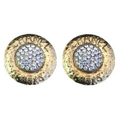 Chanel Round Rhinestone Monogram Earrings