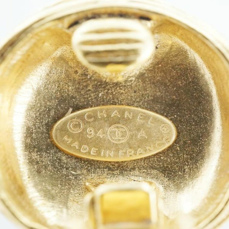 CHANEL round-shaped coco mark GP Womens earrings gold For Sale 2