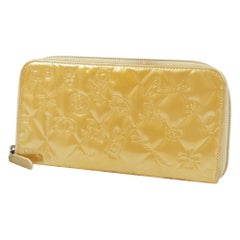 CHANEL round zipper symbols charm enamel Womens long wallet beige