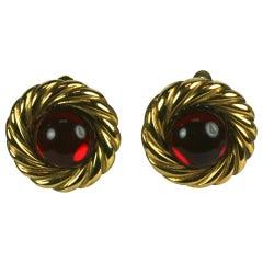 Chanel Ruby Gripoix Cabochon Earring