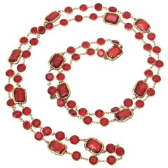 Chanel Ruby Red Crystal Chicklet Sautoir Necklace Vintage