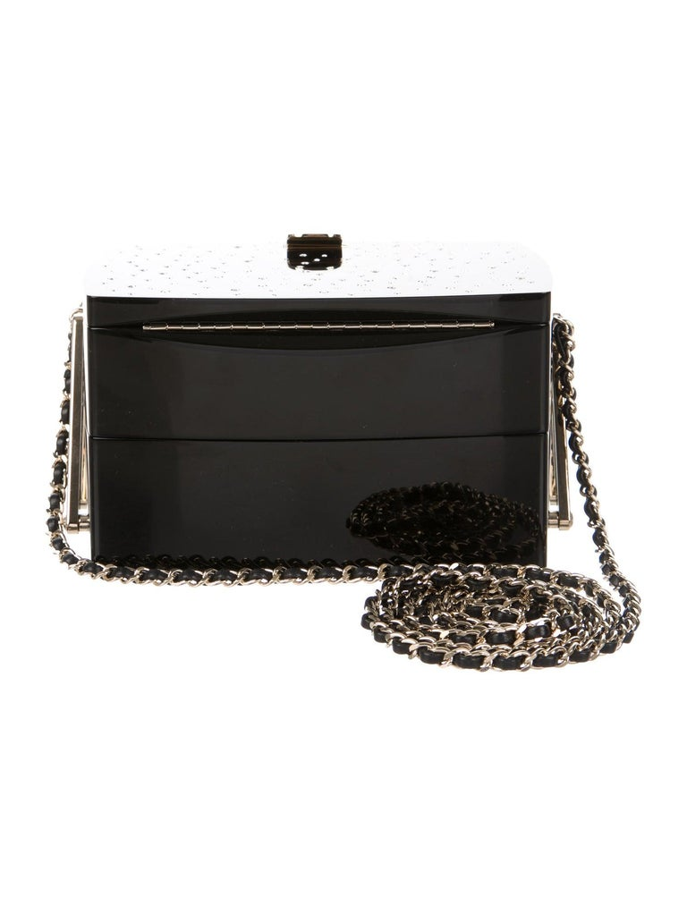 Women's Chanel Runway Black Acrylic Crystal GoldEvening Cosmetic Box Shoulder Bag For Sale