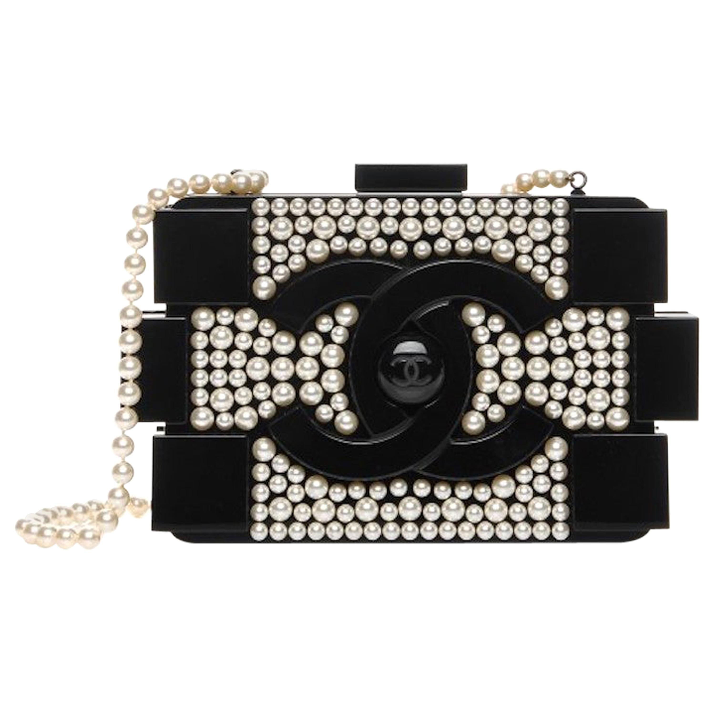 Chanel Runway Black Acrylic Pearl Box 2 in 1 Evening Clutch Shoulder Bag