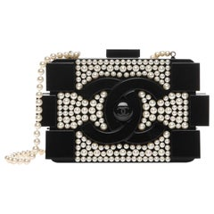 Chanel Runway Black Acrylic Pearl Box 2 in 1 Evening Clutch Shoulder Bag in Box
