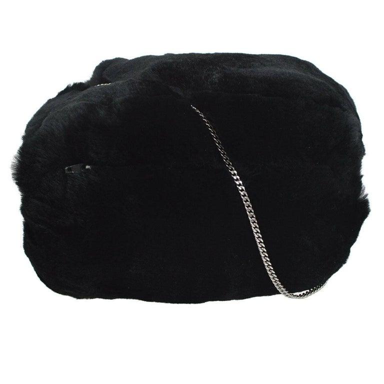 Chanel Runway Black Bead Fur Silver Logo  Evening Muffler Clutch Shoulder Bag For Sale 1