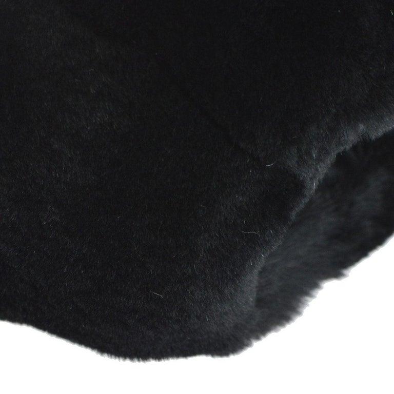 Chanel Runway Black Bead Fur Silver Logo  Evening Muffler Clutch Shoulder Bag For Sale 3