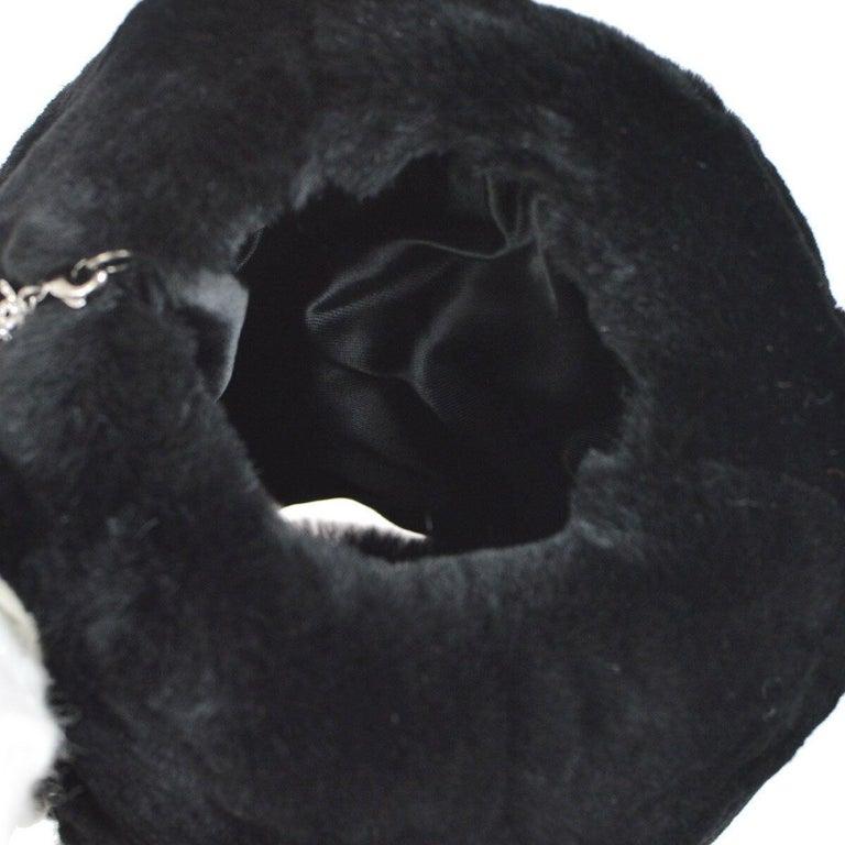 Chanel Runway Black Bead Fur Silver Logo  Evening Muffler Clutch Shoulder Bag For Sale 4