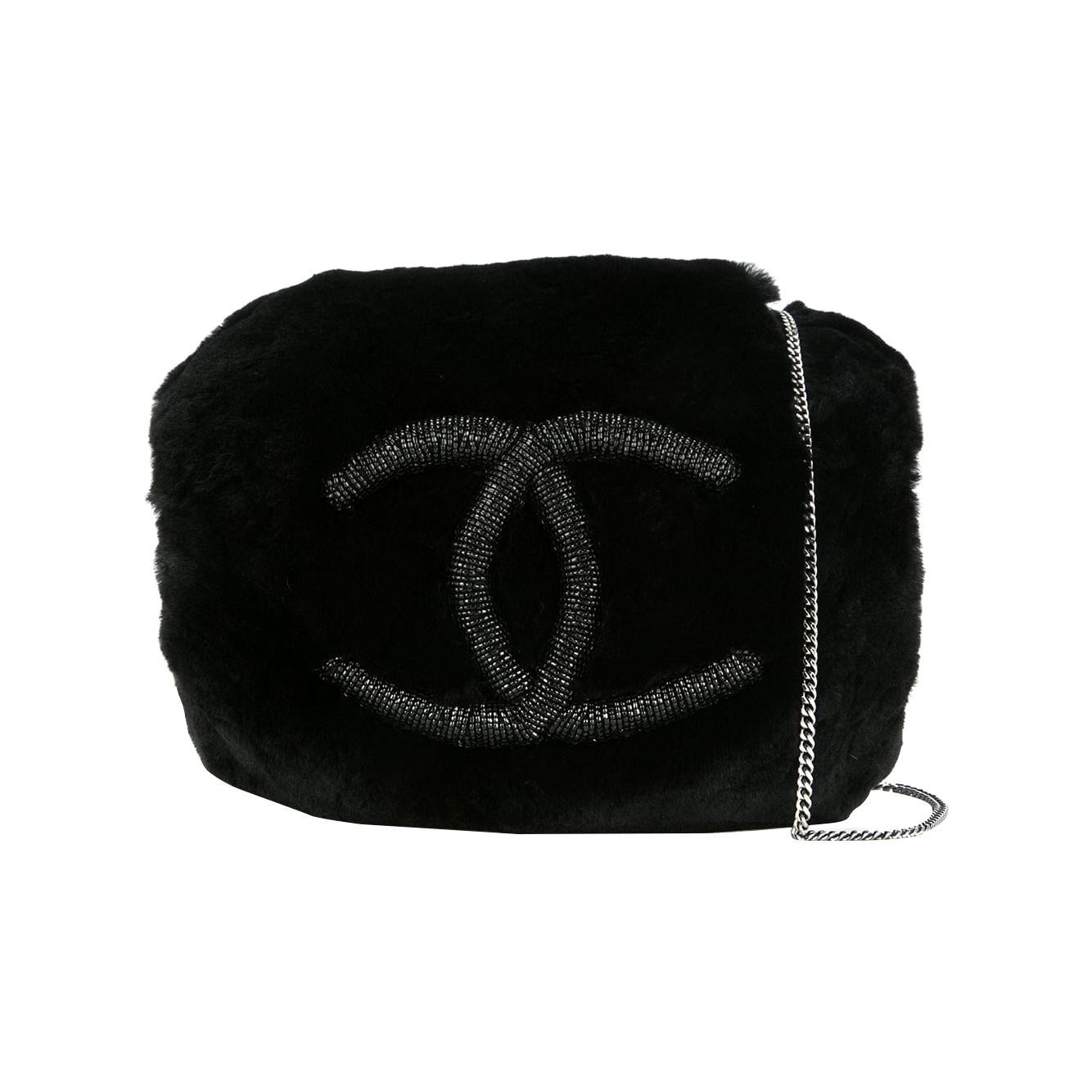 Chanel Runway Black Bead Fur Silver Logo  Evening Muffler Clutch Shoulder Bag