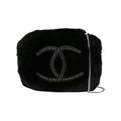 Chanel Runway Black Bead Fur Silver Logo  Evening Muffler Clutch Shoulder Bag