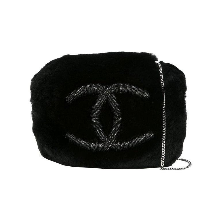 Chanel Runway Black Bead Fur Silver Logo  Evening Muffler Clutch Shoulder Bag For Sale