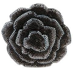 Chanel Runway Black Blue Resin Crystal Flower Evening Clutch Shoulder Bag in Box