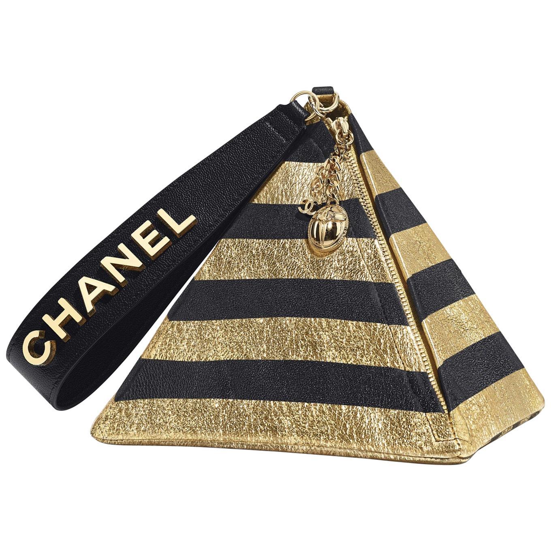 Chanel Runway Black Gold Stripe Small Mi Top Handle Evening Wristlet Clutch Bag