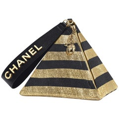 Chanel Runway Black Gold Stripe Small Mi Top Handle Evening Wristlet Clutch Bag