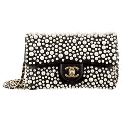 Chanel Runway Black Leather Pearl Gold Small Evening Shoulder Flap Bag