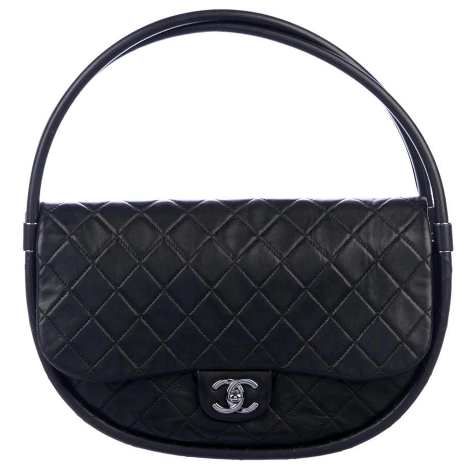Chanel Runway Black Leather Small Hula Shoulder Hoop Top Handle Satchel Tote Bag