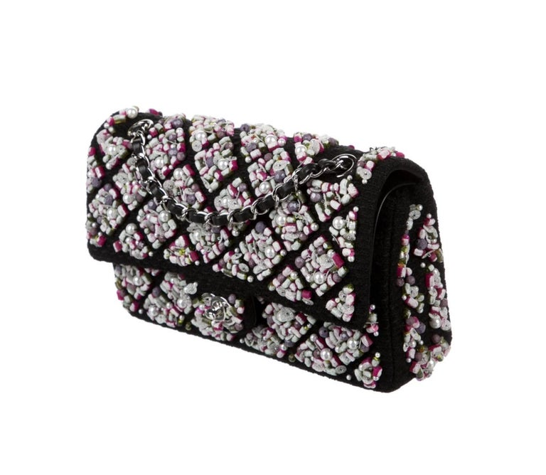 Chanel Runway Black Pink Purple Tweed Bead Sequin Medium Evening Shoulder Bag In Good Condition For Sale In Chicago, IL