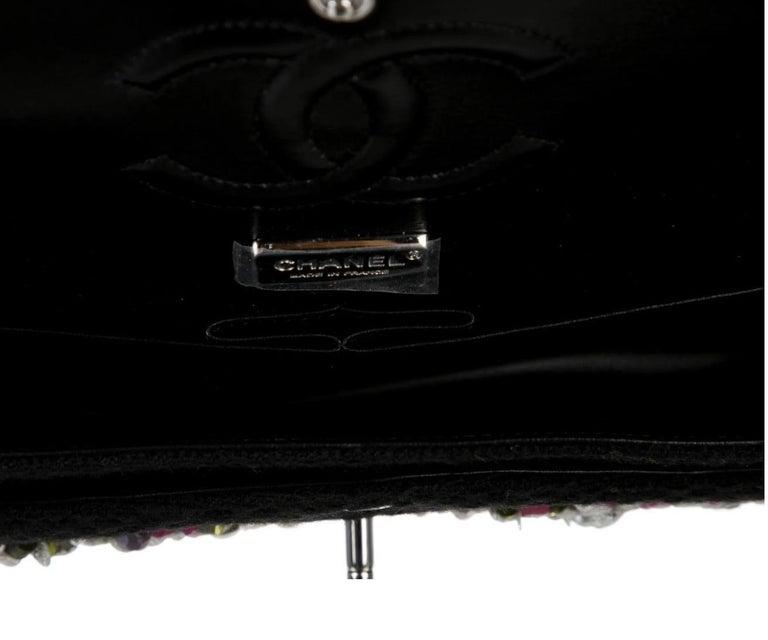 Women's Chanel Runway Black Pink Purple Tweed Bead Sequin Medium Evening Shoulder Bag For Sale