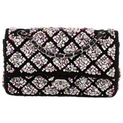 Chanel Runway Black Pink Purple Tweed Bead Sequin Medium Evening Shoulder Bag