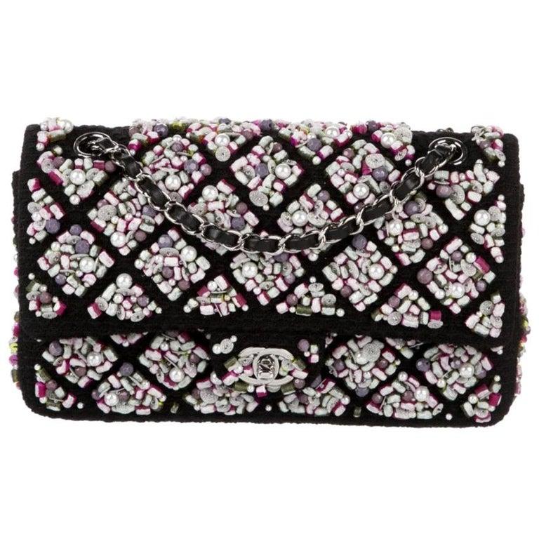 Chanel Runway Black Pink Purple Tweed Bead Sequin Medium Evening Shoulder Bag For Sale