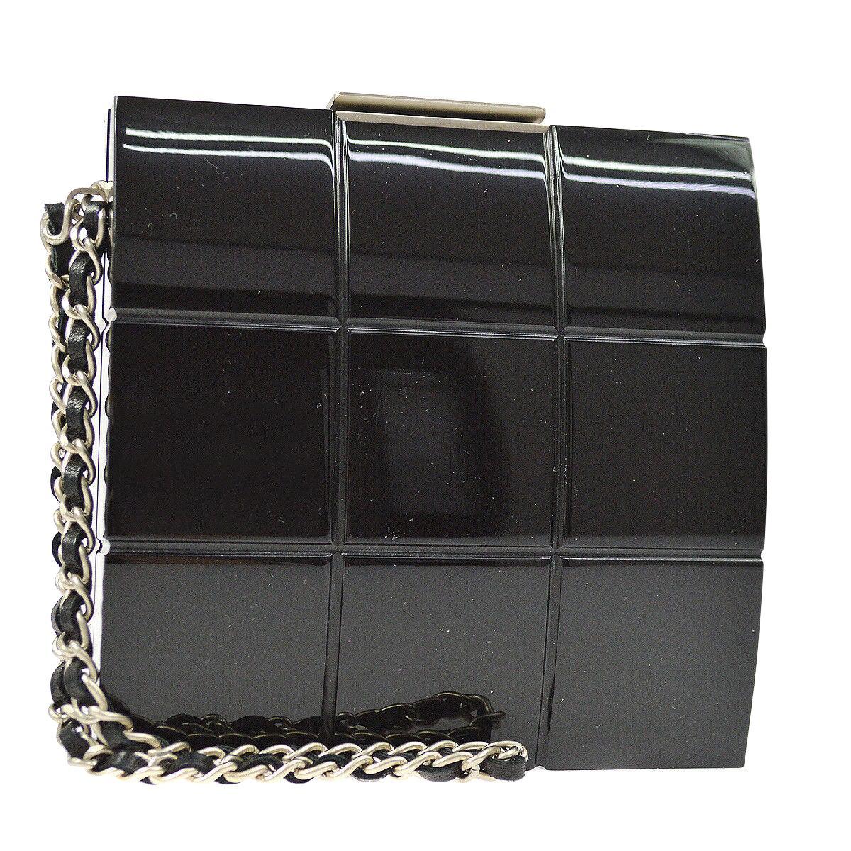 Chanel Runway Black Plastic Silver Chain Evening Clutch Bag