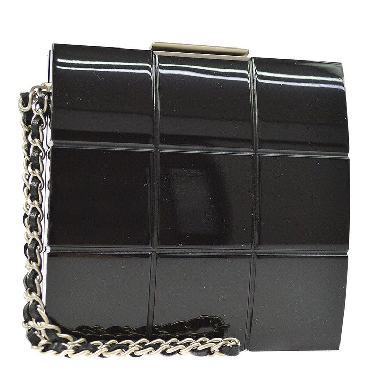 Chanel Runway Black Plastic Silver Chain Evening Clutch Bag For Sale