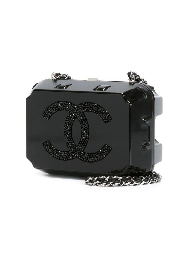 Chanel Runway Black Plexiglass Crystal Jewelry Evening Travel Shoulder Bag For Sale 2