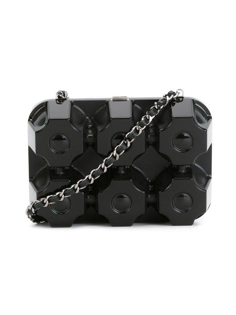 Chanel Runway Black Plexiglass Crystal Jewelry Evening Travel Shoulder Bag For Sale 3
