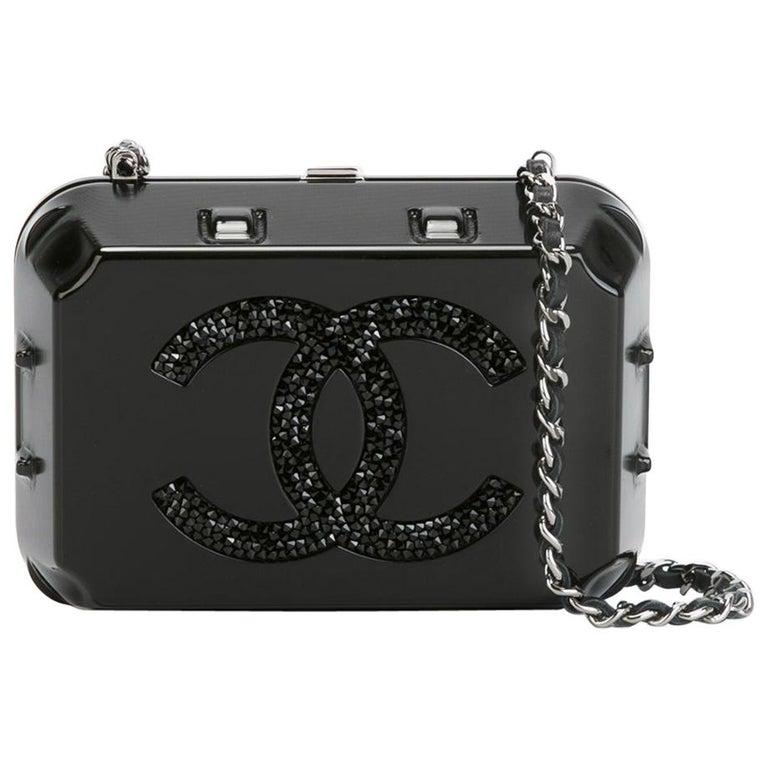 Chanel Runway Black Plexiglass Crystal Jewelry Evening Travel Shoulder Bag For Sale