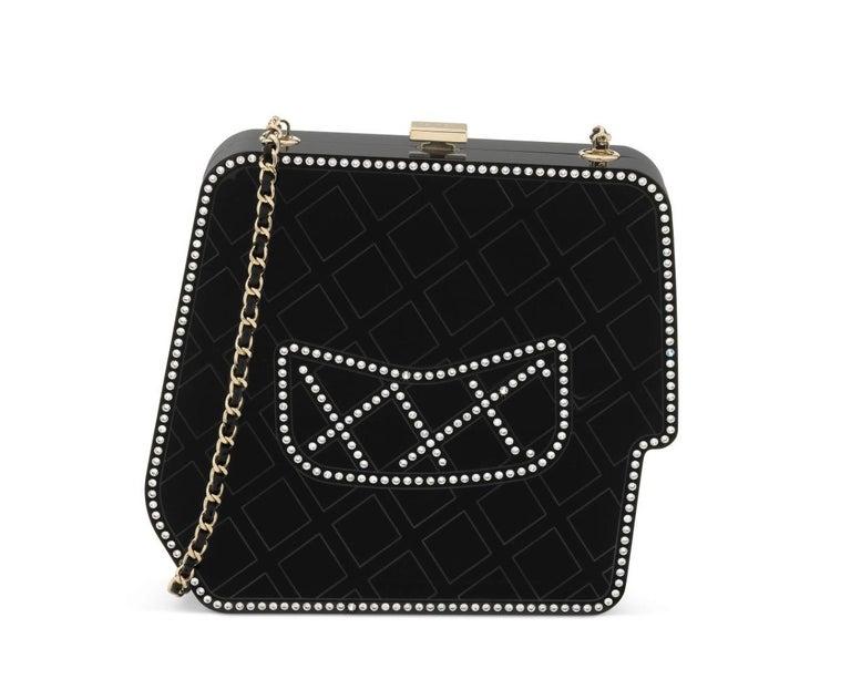 Women's Chanel Runway Black Resin Crystal Pearl Evening Clutch Shoulder Box Bag  For Sale