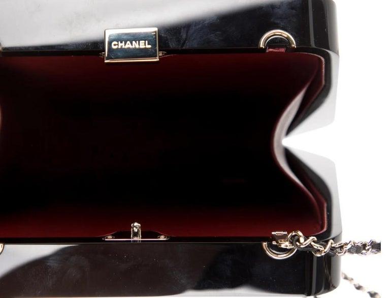 Chanel Runway Black Resin Crystal Pearl Evening Clutch Shoulder Box Bag  For Sale 1