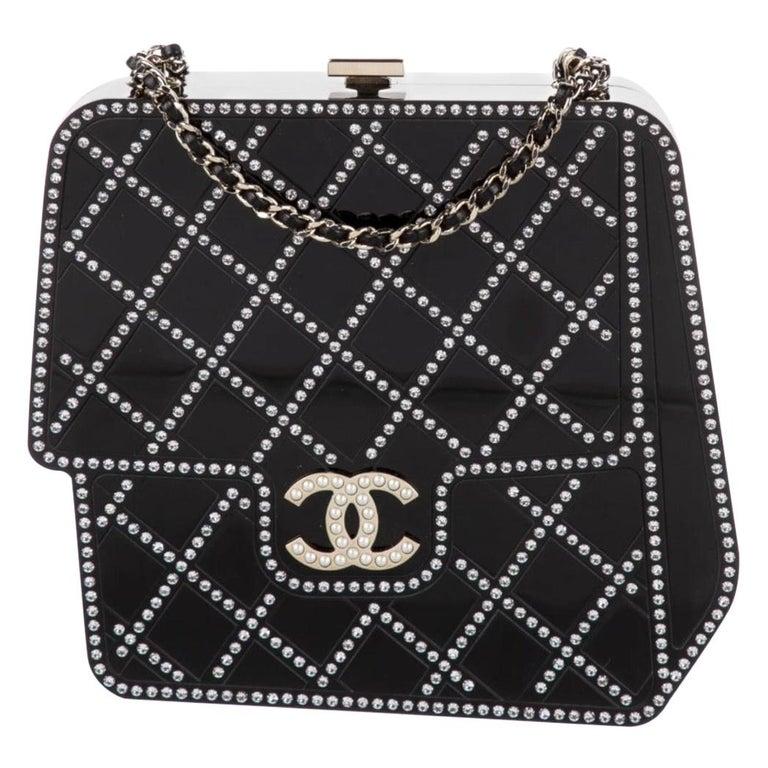 Chanel Runway Black Resin Crystal Pearl Evening Clutch Shoulder Box Bag  For Sale